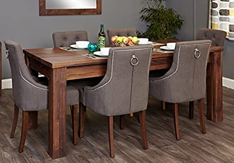 Baumhaus Mayan Walnut Extending Dining Table and Six Chairs (Slate