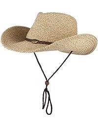 bfcc28c5ee3 GEMVIE Chapeau Cowboy Western - Chapeau de Paille Adulte Unisexe - Chapeau  de Soleil Pliable Anti