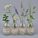 12 Stück Vasen Glasflaschen fertig Dekoriert mit Jute Natur und Spitze Weiss 10,5 cm Glasfläschen Landhaus Vintage Dekoflaschen Kleine Milchflaschen mit Spitzenband von FINEMARK