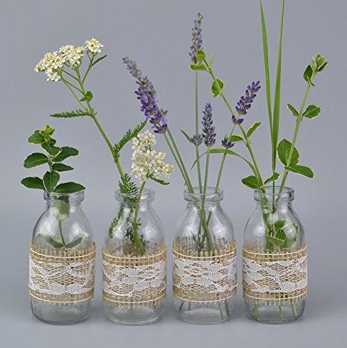 12 Stück Vasen mit Jute Natur/Spitze Weiss (2,08€/Stück) 10,5 cm kleine Glasflaschen fertig dekoriert Landhaus Vintage Dekoflaschen mit Spitzenband von FINEMARK (Dekoriert Hochzeit)
