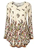 Damen Langarm-Shirt Spitzen Taillen Oberteil Gedruckte Lose Saum Tunika Herbst Bluse Tops M Weiß-Blume