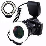 SAMTIAN Macro Ring Flash Photography with 18pcs SMD LED Light【3 Times Brightness than 48pcs LED Ring Flash】 for Canon Nikon Sony Panasonic Olympus Such as Canon 550D 70D Nikon D3000 D5000 D7000
