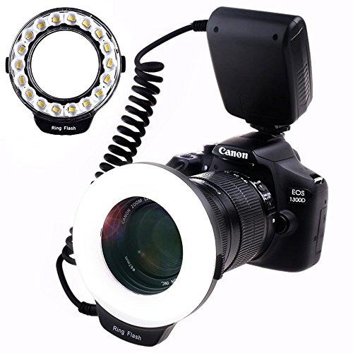 SAMTIAN Makro Ring-Blitz-Fotografie mit 18pcs SMD LED Licht 【3mal Helligkeit als 48pcs LED Ring-Blitz】 für Canon Nikon Sony Panasonic Olympus wie Canon 550D 70D Nikon D3000 D5000 D7000