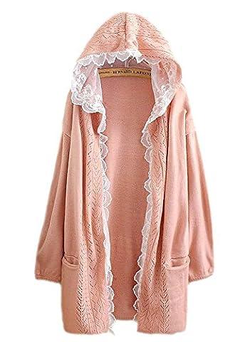 hqclothingbox Women Kawaii Harajuku Japanese Casual Lace Layered Jacket Coat Knitted Lace Sweater