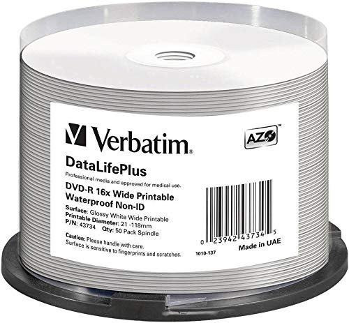 Verbatim DVD-R 16x Wide Printable Waterproof No ID