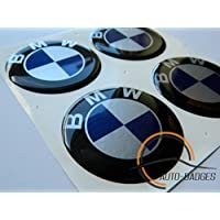BMW Juego de 4 emblemas autoadhesivos de emblema de plástico de 60 mm para solicitar cubiertas de cubos