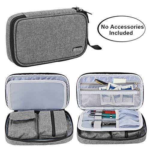 Luxja Diabetikertasche für Unterwegs, Tasche für Blutzuckermessgeräte und Diabetiker Zubehör (Nur Tasche), Grau
