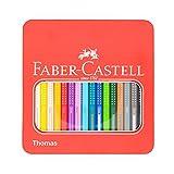 Faber Castell 16er Set Jumbo Buntstifte mit Grip - graviert - inklusive Metallbox