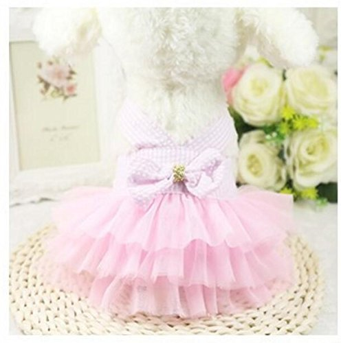 Xinjiener Hundepullover Haustier Kostüm Mesh Gaze Pettiskirt Katze Kleidung Pink 2XS