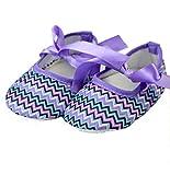 Chevron Purple Crib Shoes baby shoes newborn prewalker shoes(6-9 Months)