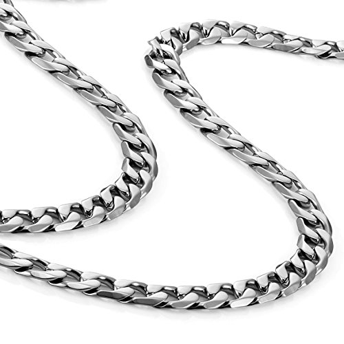 Klassische Herren Halskette 316L Edelstahl Silber Kette Farbe 46, 54, 59 cm, (6mm)