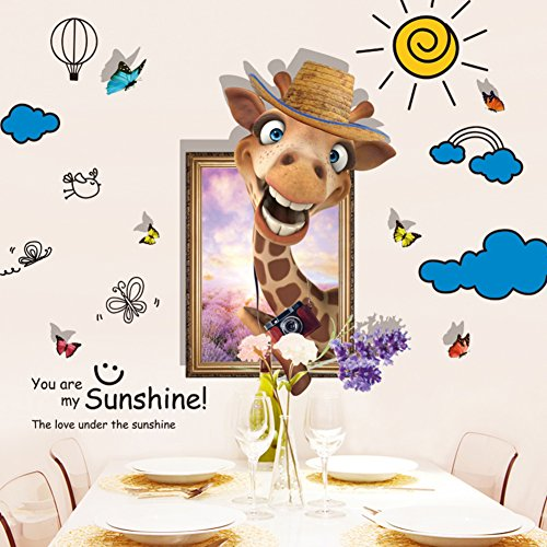 Abnehmbare cartoon tier giraffe wand aufkleber tapete kinderzimmer,3d wandsticker Perfekt für kinder bettwäsche zimmer oder geburtstagsgeschenk -C