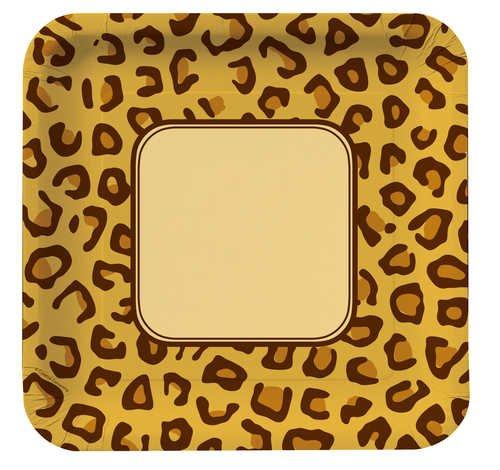 Creative Converting Animal Print Leopard Quadratisch groß Bankett Teller, 8Zählen