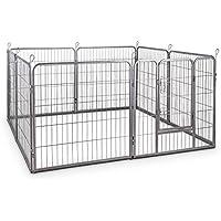 oneConcept Fort Bello corralito para animales pequeños (8 vallas de 78 x 80 cm, 3 m², para crías o animales pequeños, estructura estable, fácil montaje, acero)