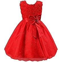 Katara - Vestido de noche para Niña con flores y con arco, color Rojo, talla 146/152 (tamaño fabricante 160)