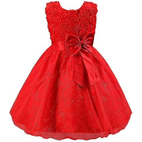 Katara - Vestido de noche para Niña con flores y con arco, color Rojo, talla 110/116 (tamaño fabricante