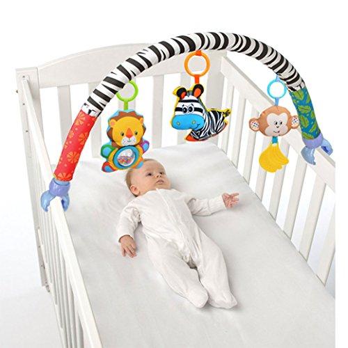 Imagen para Amazemarket bébé enfant enfants jouet en peluche douce Poussette Clip Lit de berceau Landau à suspendre les animaux Zebra Lion Singe Arch Squeak/Hochet/anneau de dentition