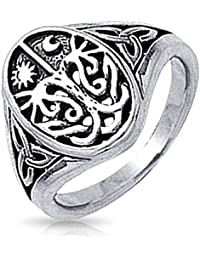Celtic Antique Style Tree of Life Band Sterling Silver Ring