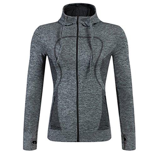 YiJee Donna Manica Lunga Sport Hoodie Casual Fitness Jogging Giacca Asciugatura Veloce Grigio