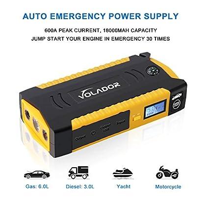 51Ft55Ti2 L. SS416  - 600A Peak 18000mAh Car Jump Starter, Volador 12V Portable Booster de la batera del vehculo (Hasta 6.0L de gas o 3.0L Diesel Engine), mufuncin Power Bank Auto Kits de emergencia con Smart Clamps