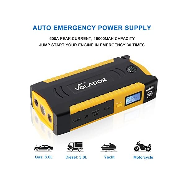 600A Peak 18000mAh Car Jump Starter, Volador 12V Portable Booster de la batera del vehculo (Hasta 6.0L de gas o 3.0L Diesel Engine), mufuncin Power Bank Auto Kits de emergencia con Smart Clamps