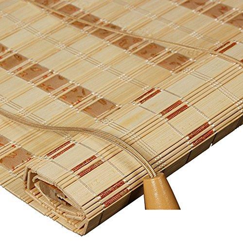 WENZHE Bambusrollo Fenster Sichtschutz Rollos Holzrollo Bambus Raffrollo Bildschirm Schatten Lichtübertragung Wohnzimmer Balkon Abgeschnitten Hängend Multifunktion, Bambus, 4 Stile, Größe Anpassbar -