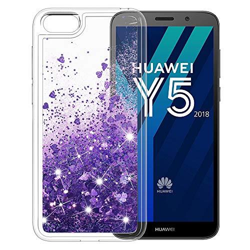 MASCHERI Hülle für Huawei Y5 2018, Fließen Flüssig Bling Dynamisch Glitzer Anti-Rutsch Kratzfest Silikon Schutzülle Schale Luxus handyschalen Shiny Glanz Cover Beschützer für Huawei Y5 2018 - Lila