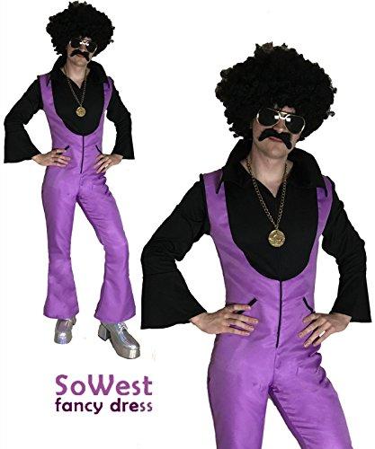 sowest Kostüm Herren Kostüm 70er Jahre 1970er 80er Jahre Samstag Disco Nächte Fieber Jumpsuit (Disco Fieber Erwachsene Kostüme)