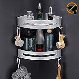 Hodzeed Befestigen Ohne Bohren Eckregal, 2 Etagen Rostfrei Aluminiumlegierung Bad Duschablage Duschkorb für Shampoo -