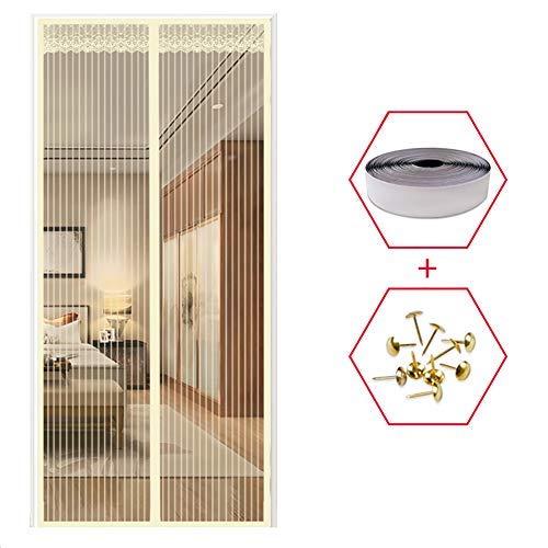 YSA Magnetschirmtür, hält Insekten von Mücken fern, Full Frame, Super Quiet Stripes, für Kinderzimmer Gelb 31x87inch (80x220cm) -