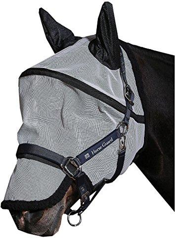 Reitsport Amesbichler HorseGuard Fliegenmaske Anti UV mit Ohrenschutz, abnehmbare Nasenteil schützt das Pferd vor UV-Strahlen, mit 2fachem Klett
