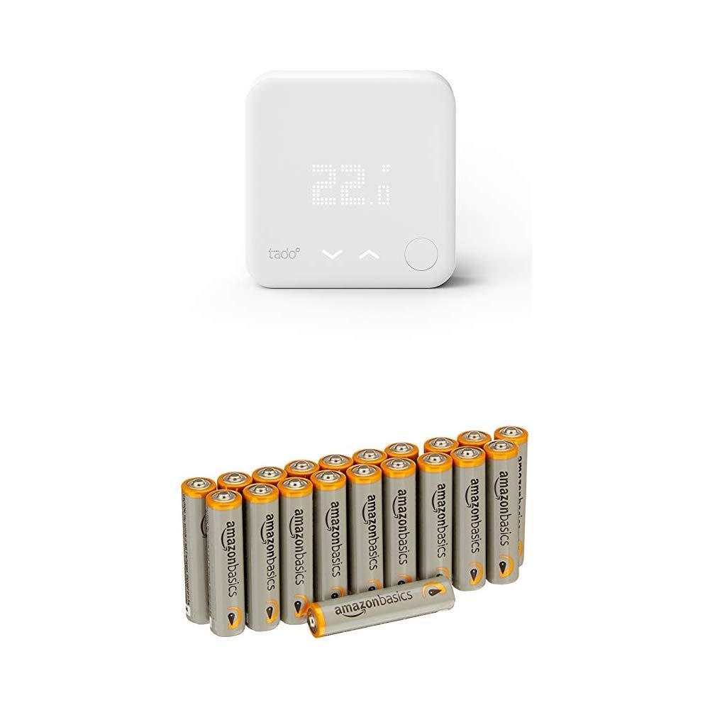 tado° Thermostat Intelligent (produit complémentaire) – contrôle de chauffage intelligent par géolocalisation via Smartphone avec les batteries AmazonBasics