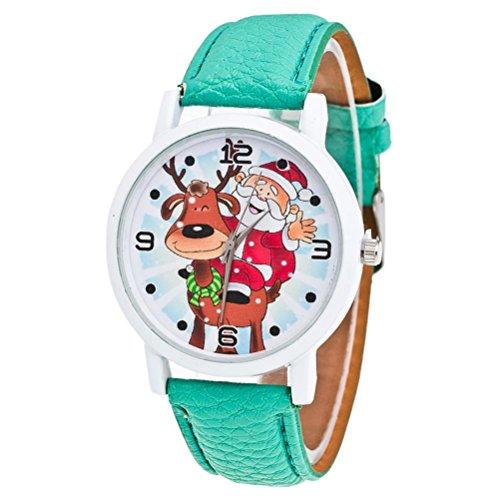 Kostüm Muster Kleinkind - Zolimx Weihnachten Älteres Muster Lederband Analog Quartz Vogue Uhren (Grün)