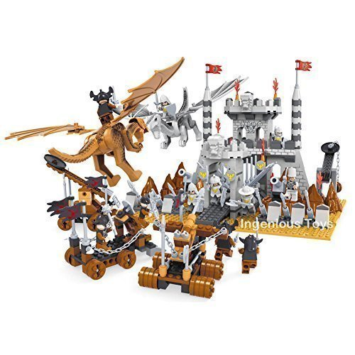 Ausini-Knights-Dragons-Epic-Castle-Battle-11-figures-Kings-kingdoms-790pcs-27001