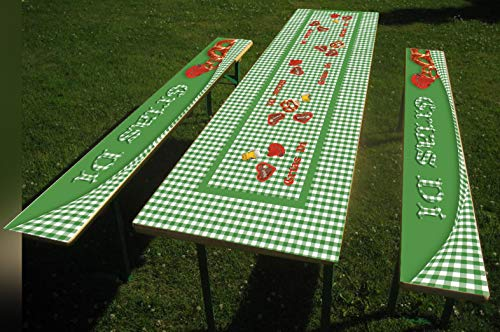 1 Set Oktoberfest Bier- Party-Tischdecke mit Oktoberfestmotiv bedruckt, Bierzelt Garnitur, Bierbank Biertisch (Set B: Tisch 70 x 220 cm und Bank 26 x 220 cm, Grün Grias Di)