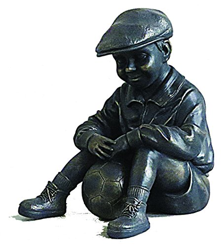 Bronze Colour Boy with Ball Sitting Garden Statue, for sale  Delivered anywhere in UK