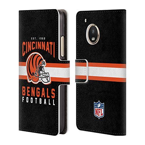Head Case Designs Offizielle NFL Helm-Buchdruckerkunst 2018/19 Cincinnati Bengals Brieftasche Handyhülle aus Leder für Motorola Moto G5