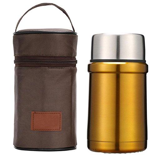 500ml-1000ml niedlichen Edelstahl-Doppelschicht-Vakuum Lebensmittelkolben Männer Lebensmittel-Flasche Damen Isolierung Dosen , gold , 500ml