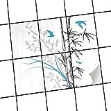 creatisto Fliesendekor Klebefolie   Fliesen-Sticker Aufkleber Folie Selbstklebend Bad renovieren Küche Wanddekoration   15x20 cm Design Motiv Bamboo 1-6 Stück