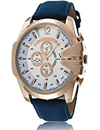 iSweven isweven Casual quartz large dial leather strap sports watch Analogue Blue Unisex Wrist Watch W1014ii