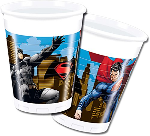 s 200 ml Batman Vs Superman Kunststoff Tassen, 8 Stück (Superman Party Supplies)