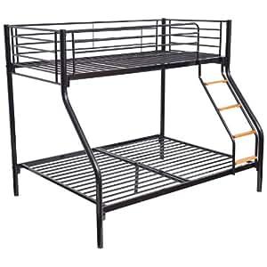 lits superpos s pour enfants avec lit une place et lit deux places cadre en m tal noir amazon. Black Bedroom Furniture Sets. Home Design Ideas