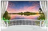Wolipos 3D Wandmalerei Wand-Aufkleber Tapete Wandtattoo Setzen Sie Den Malerischen See Auf Den Balkon Hd Dekoration 200Cmx140Cm
