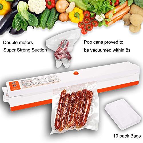 Vakuumiergerät, DAMPAK Doppelmotoren Vakuum Lebensmittel-Siegelmaschine, Verpackung für den Haushalt mit kostenlosen Heißsiegelbeuteln, Super Strong-Saugautomat für automatische Siegelung + 10 Beutel