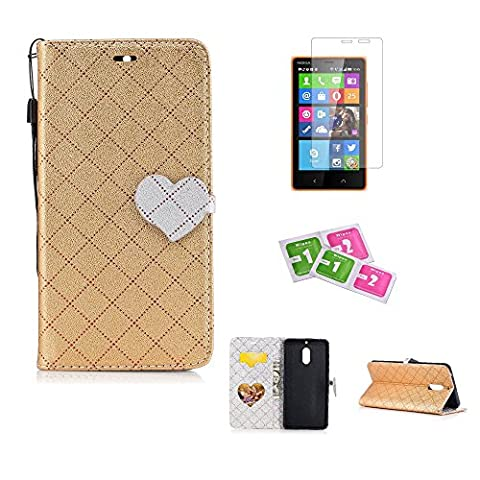 JGNTJLS Case For Nokia5, [New Original Style] [with Free Tempered Glass Screen Protector] LOVE, Cute, Fashionable, Stylish, Cross-Embossing(Contrast-Colorful, Wrinkle-Design), Fax Leather-Shell(Artificial, Silky Touch Fully), Photos Frame Additional(Heart-Shaped, Transparent HD) [Small Black Lanyard Strap] Flip Wallet Card Slot Smart Stand Cover Ultra Slim Protective Folder Case Perfectly Fit For Nokia5 [5.2
