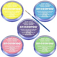 18ml SNAZAROO FACE/BODY PAINT (BLUE GREEN PINK YELLOW & LILAC) PALE COLOURS SET