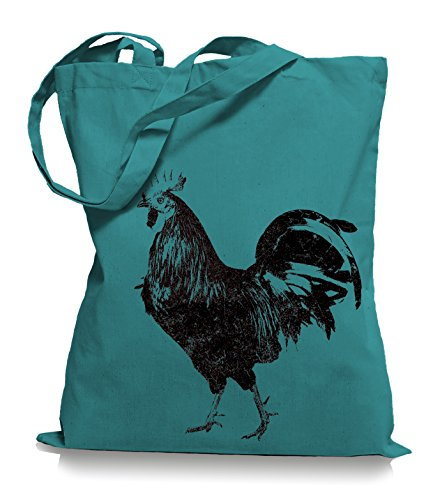 Ma2ca® Schwarzer Hahn Stoffbeutel Einkaufstasche Tasche Tragetasche / Bag WM101 Emerald