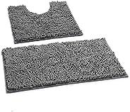 2Piece Anti-slip Bath Mat Set Chenille Extra Soft Microfiber Material Machine Wash And Dry Super Absorbent Sha