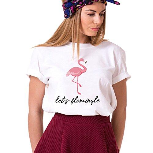 Best Friends Sister T-Shirts für Damen Mädchen Beste Freundin Freunde Tshirt BFF Shirt Freundschaft Tops Süße Cartoon Flamingo Geschenk 1pcs Symbol der Freundschaft(Weiß-M)