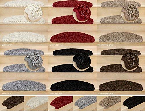 Kettelservice-Metzker® Stufenmatten, Treppen-Teppich Shaggy Queens halbrund, inkl. Fleckentferner, Creme 14 Stück